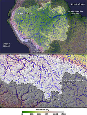 Source of Amazon and Amazon Basin