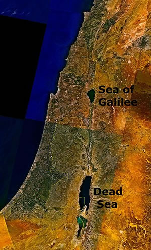 Satellite image of the Dead Sea and surrounding area