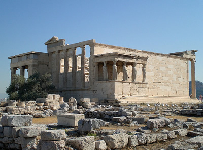 The Erechtheum on the Acropolis in Athens, Greece