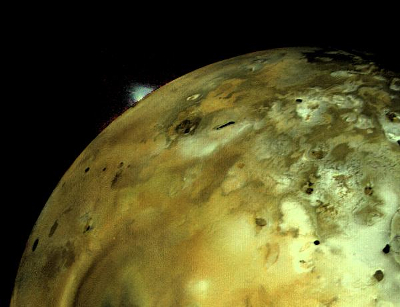 Voyager 1 Image of  Volcanic Erupton on Io. Source: NASA