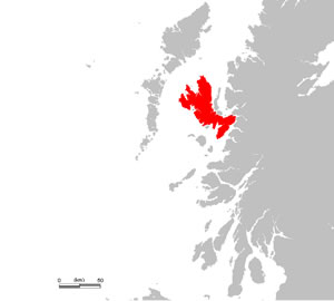 Location of Skye off the coast of Scotland